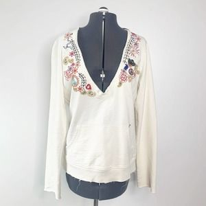 Lucky Brand White V-Neck Embroidered Long Sleeve Hoodie Women's Size Medium M